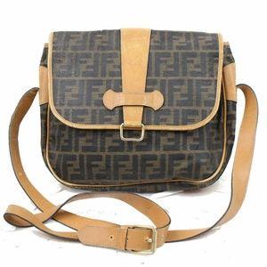 Auth Fendi Canvas Crossbody Bag #856O71